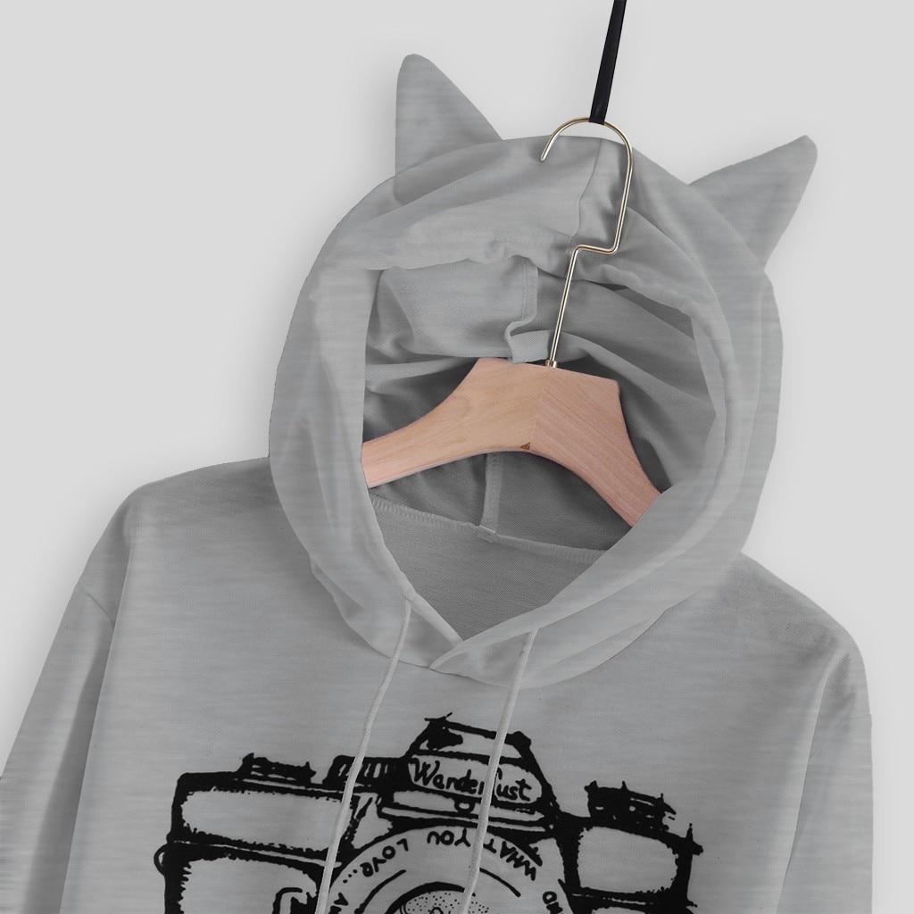 JAYCOSIN ladies autumn and winter fashion camera print sweatshirt cat ears hooded pop sweatshirt short paragraph high daily