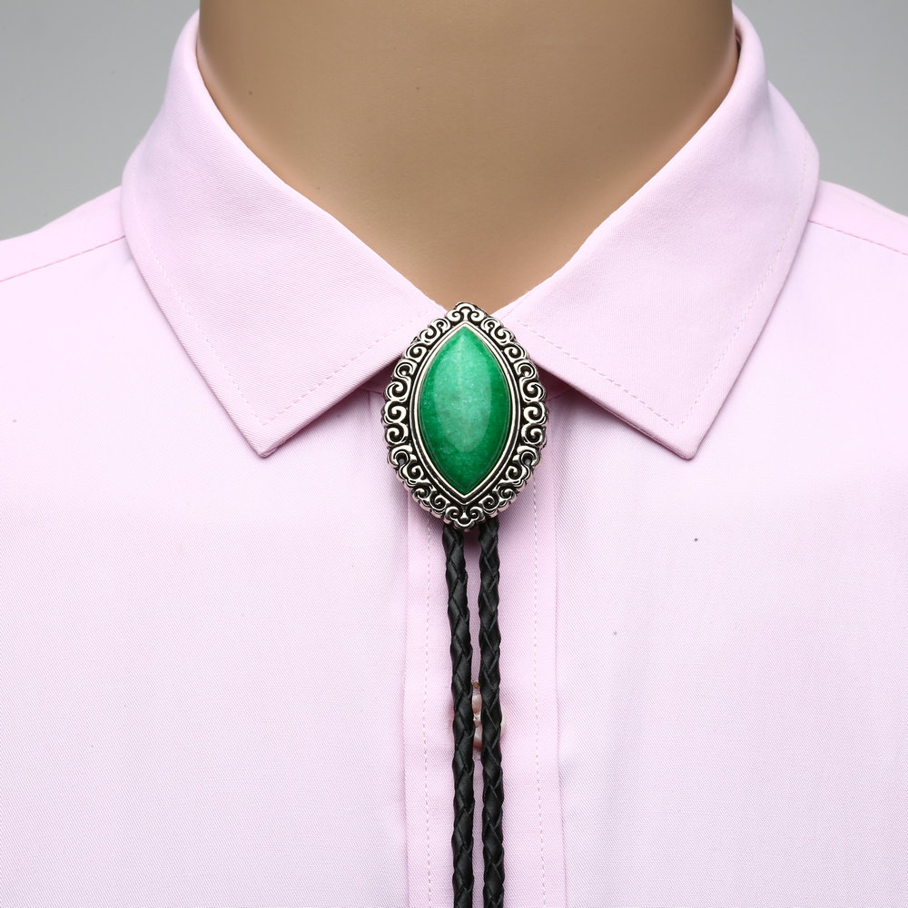 New Unisex Bolo Necktie Natural Stone Large Eyes Stainless Steel Necklace Wedding Fashion