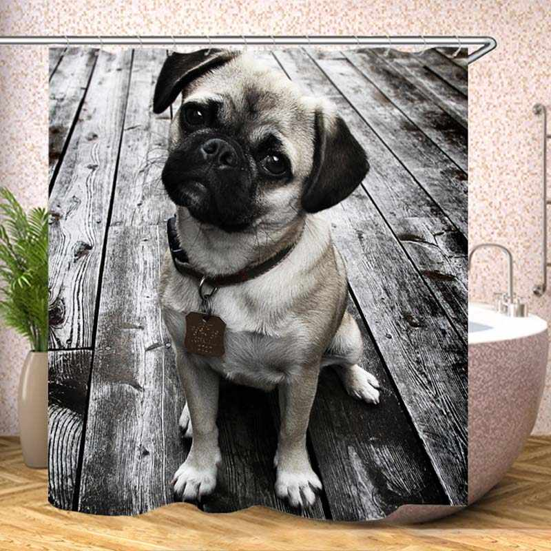 Dogs Wood planks Pug Black and white Waterproof Shower Curtain With Hock Bathroom Curtains Bath Bathing Sheer For Home Decor