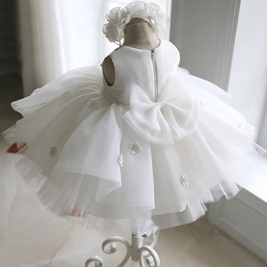 Vestido de batismo recém-nascido para a menina do bebê branco primeira festa de aniversário usar 3d flor da criança menina batismo vestido de casamento vestidos