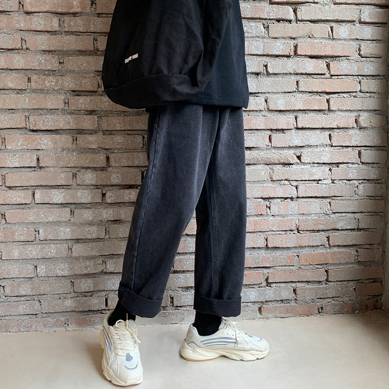 2019 Men's Baggy Homme Straight Pants Black Color Wash Jeans Cargo Pocket Casual Pants Biker Denim Loose Trousers Size S-3XL