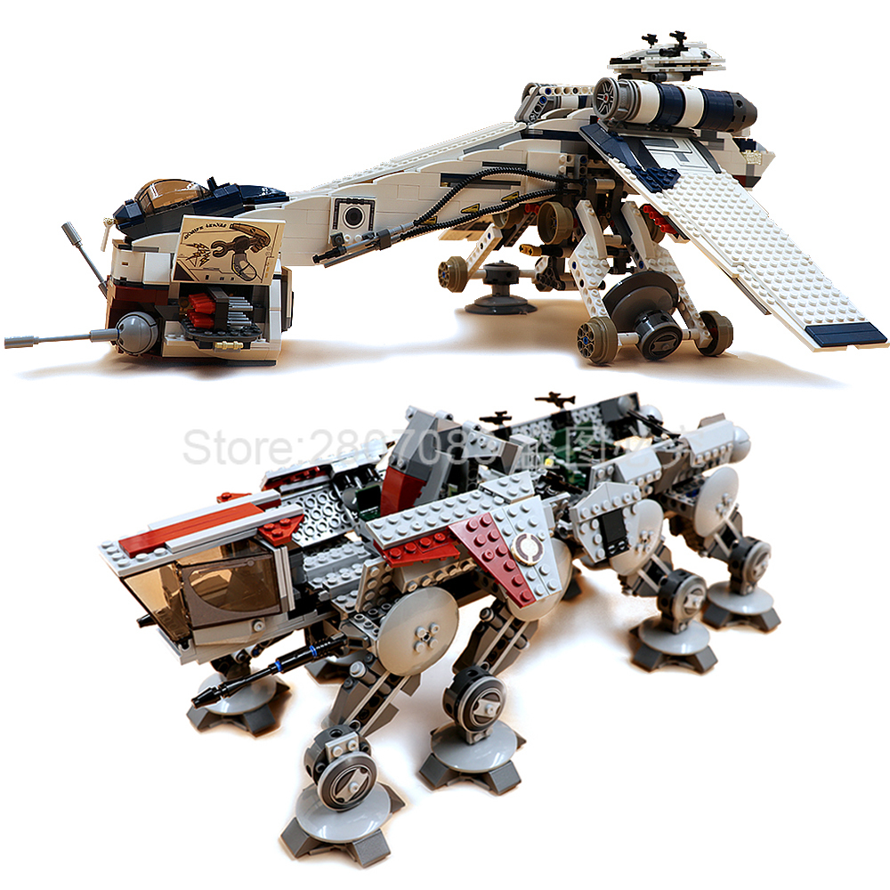 NEW In Stock 05053 1758pcs Star Wars Republic Dropship with AT-OT Walker Building Blocks Bricks Kids toys Christmas Gift <font><b>10195</b></font> image