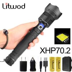 Litwod Z25 50000LM XLamp xhp70.2 najbardziej latarka o dużej mocy usb Zoom latarka led xhp70 xhp50 18650 lub 26650 akumulator w Latarki LED od Lampy i oświetlenie na
