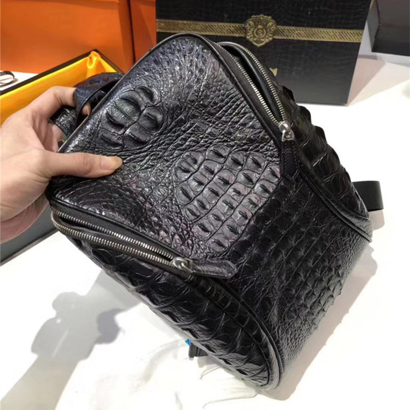 Authentic Crocodile Skin Men's Casual Black Chest Bag Small Travel Purse Genuine Exotic Alligator Leather Male Crossbody Bag