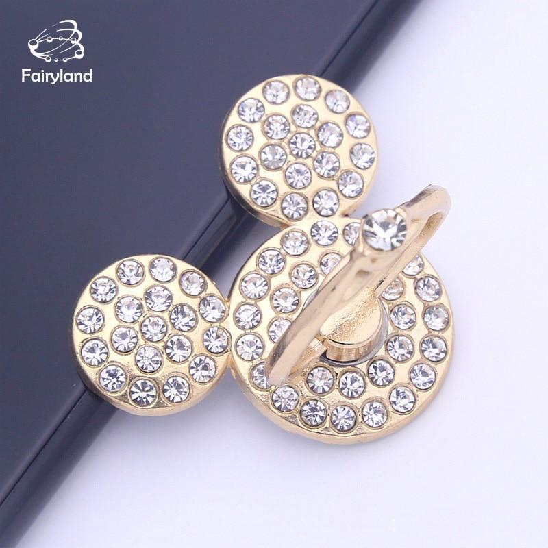 Diamond Phone Ring Bracket Mickey Minnie Cartoon Cellphone Ring Holder New Creative Drop-proof Desktop Stand Metal Phone Grip