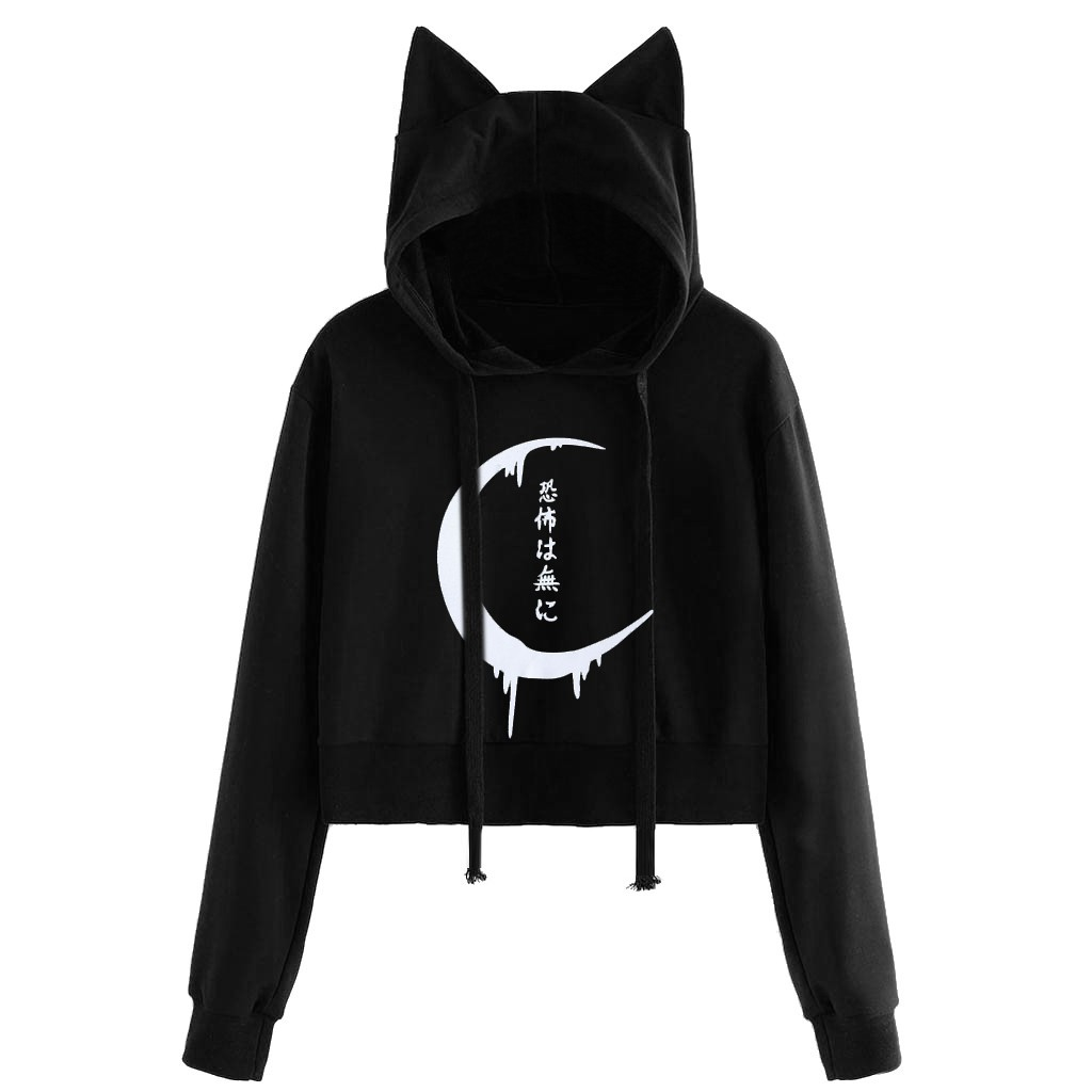 Cute Cat Ear Gothic Punk Women Sweatshirt Oversized Hoodie Harajuku Fall Long Sleeve Black Hooded Streetwear Tunic Hat Kpop Coat