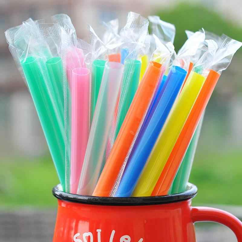 10pcs/pack Disposable Milk Tea Straw Transparent Pearl Suck Pipe Plastic Long Drinking Disposable Straw