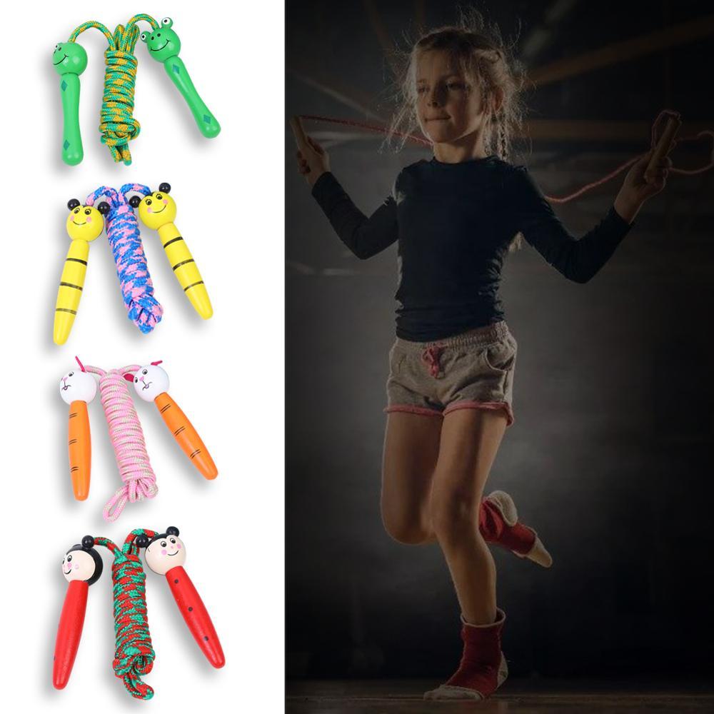 скакалка Детские скакалки, милые Мультяшные скакалки с деревянными ручками, плетеные веревки без спутывания, спортивные скакалки для фитне...