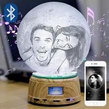 Photo custom moon light 3D printing moonlight night light USB charging music electric rotating Base Drop shipping