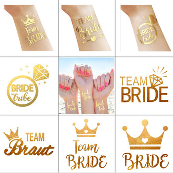 1pcs Wedding Decoration Team Bride Bronzing Stickers Hen Party Girls Tattoo Stickers Bachelor Party Bride Tribe Bride Shower-C image