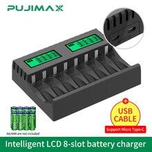 Зарядное устройство PUJIMAX с 8 слотами и ЖК-дисплеем, умное интеллектуальное зарядное устройство для AA/AAA NiCd NiMh аккумуляторных батарей, зарядно...