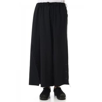 Codzienne męskie spodnie szerokie nogawki spodnie spódnica spodnie nieregularne asymetryczne guziki moda męska moda młodzieżowa moda miejska czarny dział tanie i dobre opinie IKKB Proste Pełnej długości