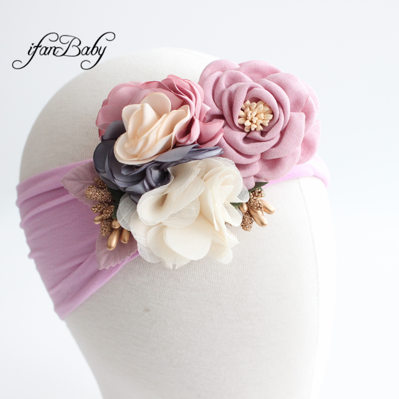 Fashion Turban Fabric Flower Headband Kids Girl Hair Accessories Nylon Soft Headwear