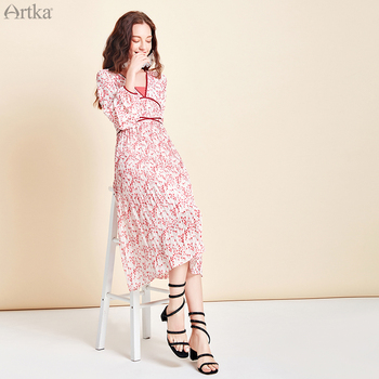 ARTKA 2020 Spring Summer New Women Dress Retro Elegant Chiffon Dresses Sexy V-Neck Lantern Sleeve Long Dress For Women LA25105C 2019 spring new women half sleeve loose flavour black dress long summer vestido korean fashion outfit o neck big sale costume