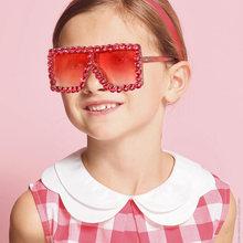 2020 Квадратные Солнцезащитные очки со стразами для детей uv400
