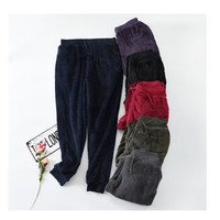 Woman's pajama pants Couple trousers Winter thickening pants warm coral velvet sleep Bottoms