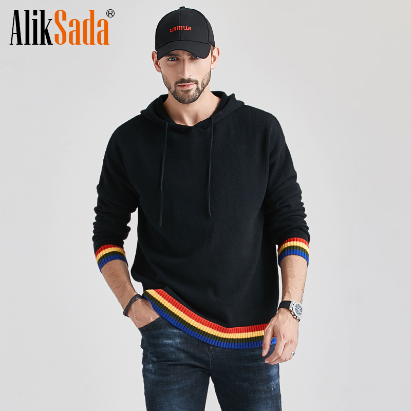 Aliksada 2020 Men's Autumn New Casual Cotton Outwear Hat Sweaters Hoodies Pullovers Men Fashion Classic Striped Sweater Coat Men 1