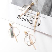 2019 New Fashion Women's Natural Shell Piece Dangle Earrings Ladies Round Square Geometric Gold Metal Drop Earring Jewelry Gift fashion sweet shell round dangle earrings