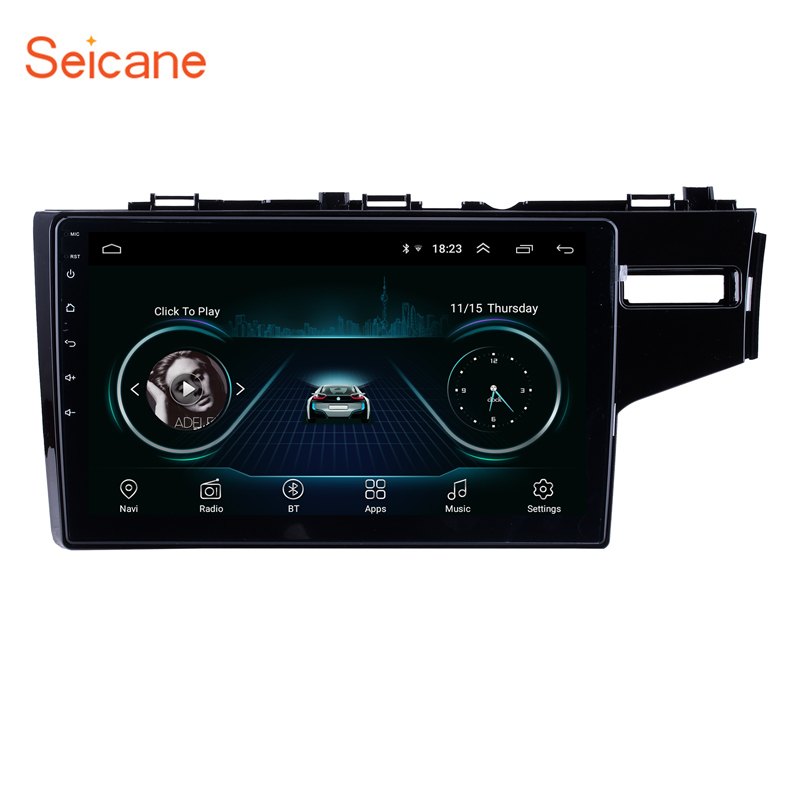 Seicane 10.1 Inch <font><b>Android</b></font> 8.1 Quad-core Car Wifi Bluetooth 3G Multimedia Player 2din GPS For 2014 <font><b>2015</b></font> <font><b>HONDA</b></font> JAZZ/<font><b>FIT</b></font> (RHD) image