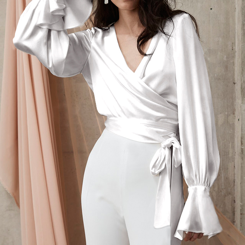 Celmia Women White Satin Blouse Fashion Shirt Long Flare Sleeve V-neck Sexy Top Casual Solid Belted Office Lady Elegant Blusas 7