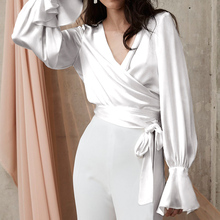 Shirt Satin Blouse Flare-Sleeve Sexy-Top V-Neck Blusas Celmia White Elegant Office Lady