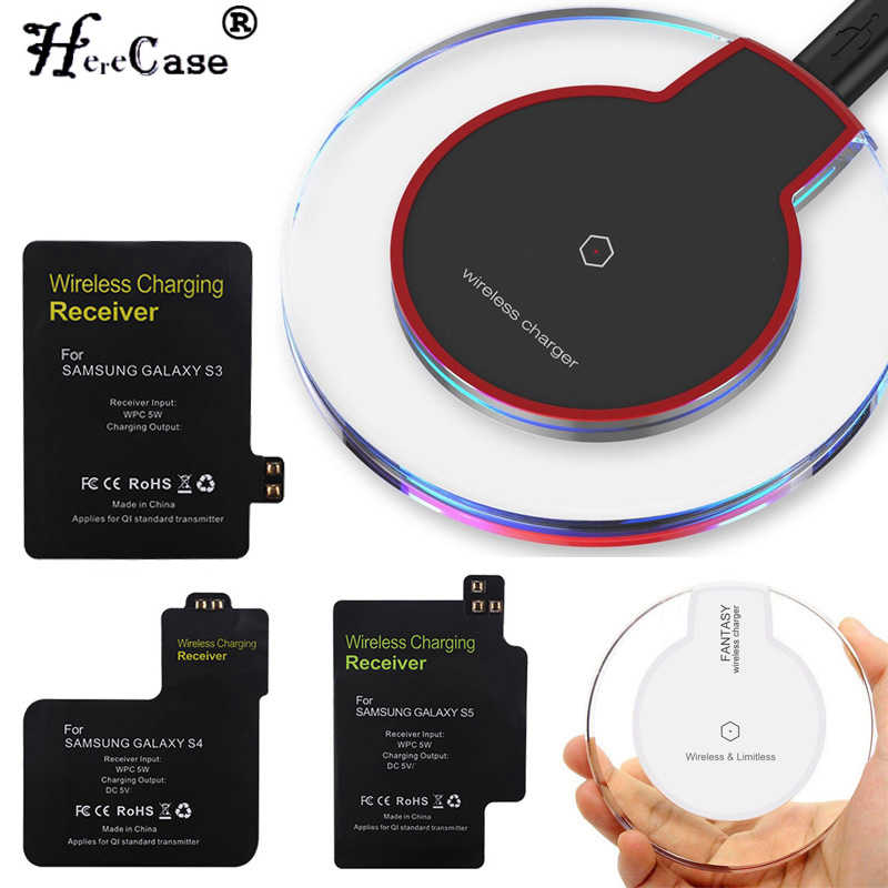 HereCase 2 en 1 chargeur sans fil chargeur Dock + chargeur sans fil adaptateur récepteur pour Samsung Galaxy S3 S4 S5 Note 4