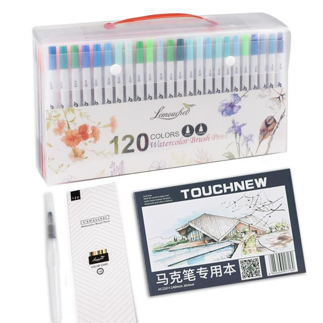 120 Colors Dual Tip Brush Marker Pens Fineliner Watercolor Art Markers Calligraphy Coloring Drawing Art Supplies with Marker Pad 4