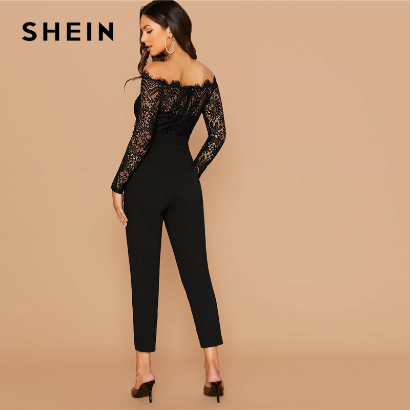 SHEIN Black Off Shoulder Lace Bodice Self Belted Jumpsuit Women Autumn Solid High Waist Skinny Party Glamorous Jumpsuits 2