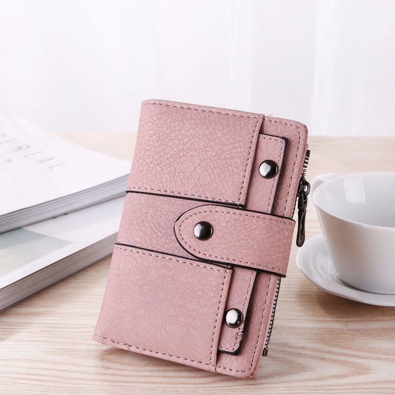 Women Wallet Simple Retro Rivets Short Wallet Coin Purse Card Holders Handbag For Girls Purse Small Wallet Ladies Bolsa Feminina