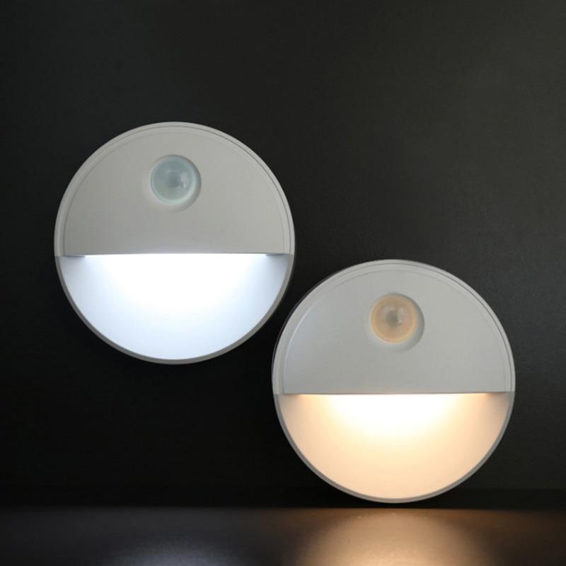 LED PIR Motion Sensor Night Light Under Cabinet Kitchen Bedroom Wireless Magnetic Adhesive Closet Light Sensor Stair Lamp