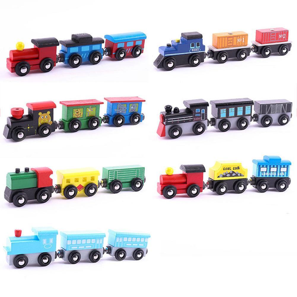3Pcs/Set Magnetic Wooden Mini Train Carriage Model Educational Kids Toy Gift