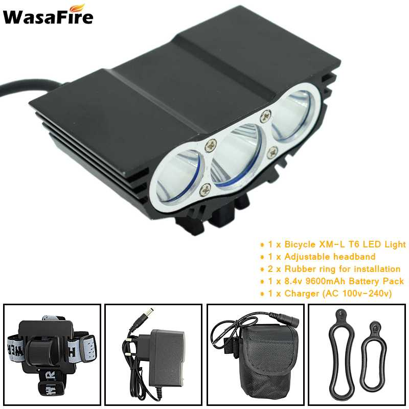 3xT6 Bike Front Light LED Bicycle Headlight 4 Mode Safety Night Cycling Warning Lamp + Rechargeable 18650 Battery Pack + Charger