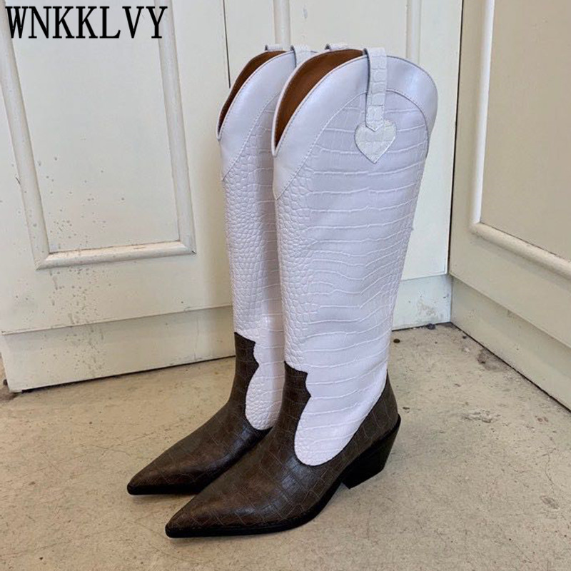New Pointed Toe Knee High Boots Women Chunky Mid Heel Stone Pattern Leather Patchwork Shoes Autumn Western Cowboy Long Booties