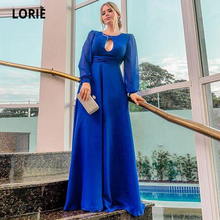 LORIE Elegant Royal Blue Chiffon Formal Eveing Dresses Long 2020 Simple Sleeve Floor Length Mother Party Dress Custom Made