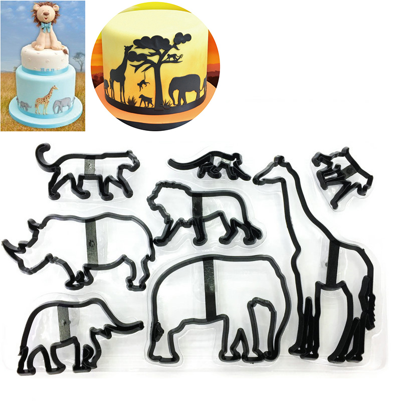 Molde la torta 8 unids Leopardo Animal Cocina Decoraci/ón Fondant Silueta Jirafa Elefante Hornear Herramienta Cortador Galletas