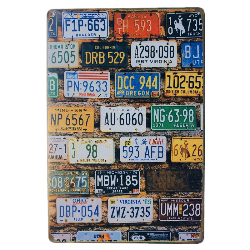Shabby Chic Car Plates USA Route 66 MAP Vintage Tin Sign Bar Pub Home Garage Wall Decor Retro Metal Art Poster Plaque