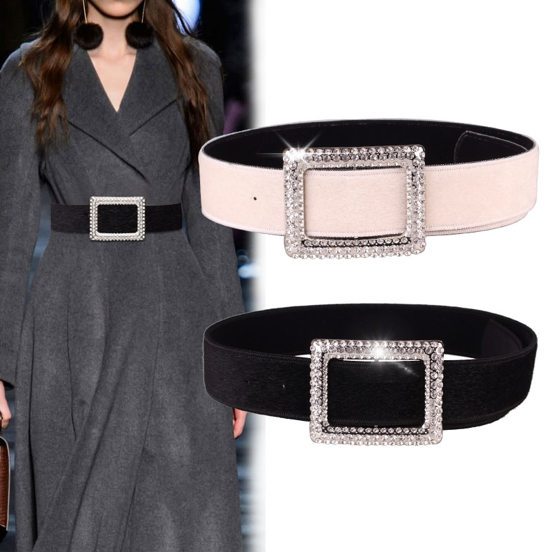 Women 110* 5cm Waist Cover Big Buckle Crystal Wide Belt Fashion All Collocation Skirt Coat Horse Hair Designer Women Wide Belts
