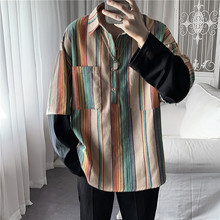 Striped T Shirt Men Fashion Contrast Color Casual Lapel Long-sleeved T-shirt Men Streetwear Loose Hip-hop Fake Two-piece Tshirt contrast striped cactus print casual t shirt