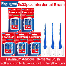 Fawnmum 5x32pcs Silicone Interdental Brush Super Soft Toothpick Food Grade Toothbrush Adaptive Tooth Gap Dental Oral Care Tool