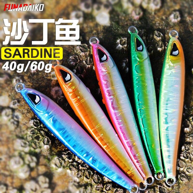 FUNADAIKO lead jig isca artificial fishing jig Baits 3d Eyes metal jig Jigging lure fishing Jig lures slow jig 40g 60g