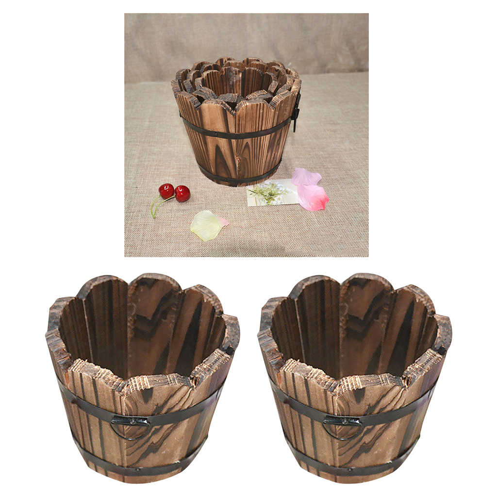 2Pcs Outdoor Yard Planter Gazon Hout Bloem Plant Pot Whiskey Vat-Golvend Top