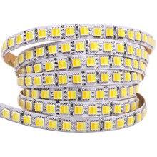 Nova tira conduzida 5050 12v 120leds/m flexível led luz rgb cct branco quente 600leds 5 m/lote led fita decoração para casa iluminação