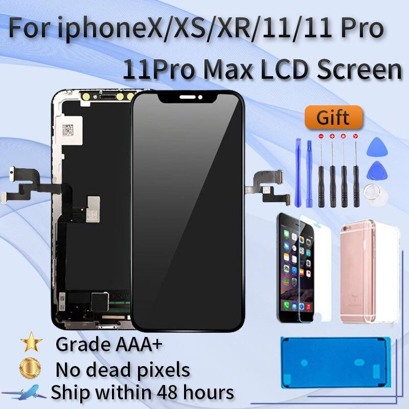 Para o iphone x xr xs xsmax 11 display lcd montagem da tela de toque, cor, 3d sensível, nenhum toque ângulo morto, aaa + grau