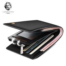 Купить с кэшбэком LAORENTOU Men 100% Genuine Leather Short Wallet Casual Cow Leather Purse Standard Card Holders Wallets for Men