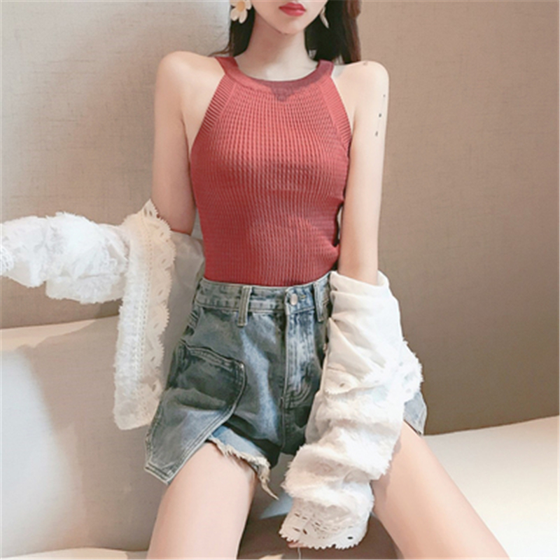 Knitted Vests Summer Knit Woman Shirt Women Sexy Casual Halter Off-shoulder Top Sleeveless Vest Tank Top Camisole Fashion Female