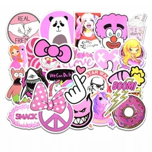 50Pcs Waterproof Girls Kawaii Pink Lovely Sticker Toys Luggage Stickers for Motor Car & Suitcase Fashion Laptop Decals