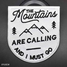 O tema exterior das montanhas ferro em remendos bordou o remendo da roupa para a roupa etiqueta acessórios do vestuário do vestuário