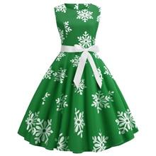 Fashion Women Christmas Sleeveless Dress O-Neck Floral Print Slim Vintage Party 2019 Elegant Autumn S-2XL