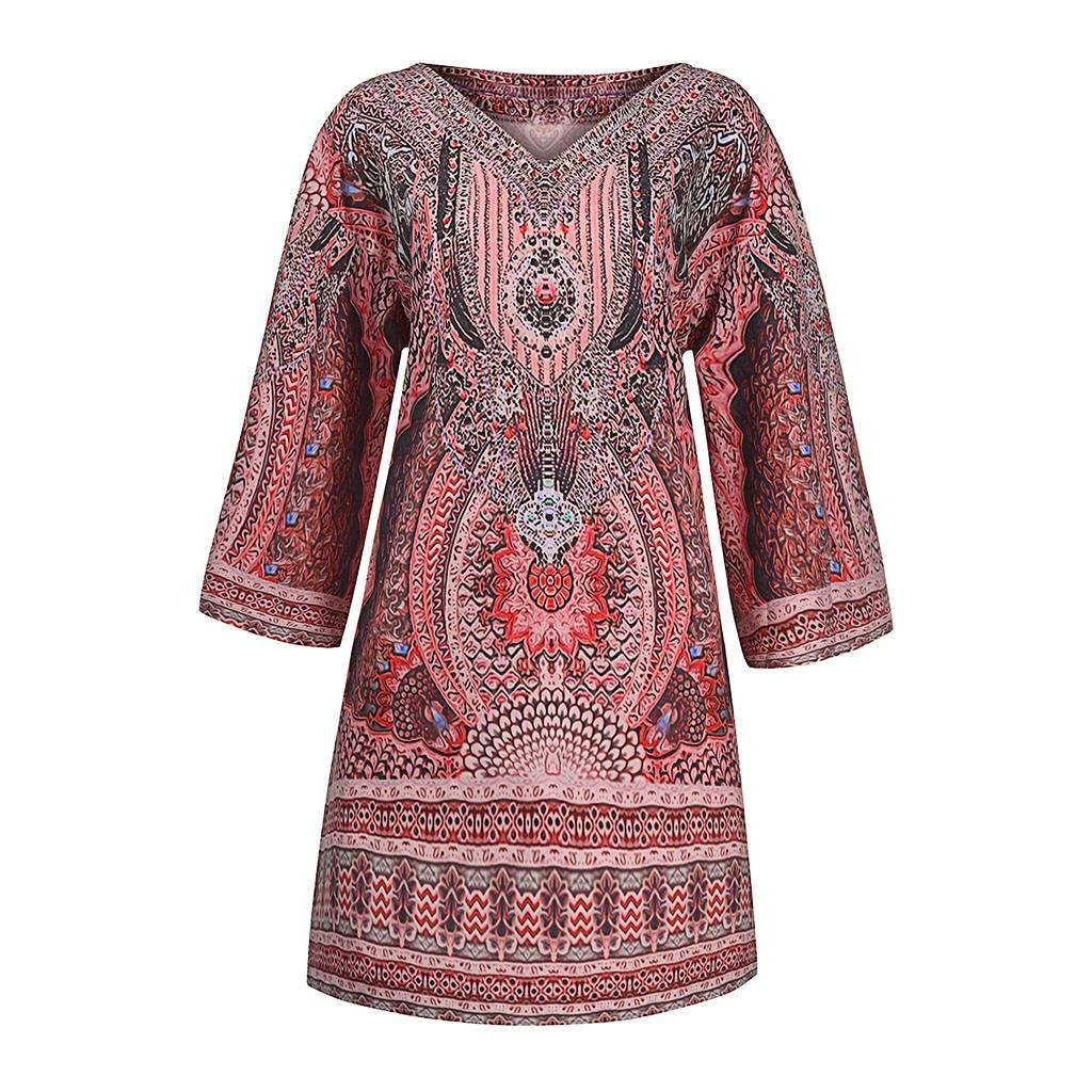 Summer Boho Beach Dress Women Vintage Dresses V neck Printing Long Sleeves Dress Leisure Time On