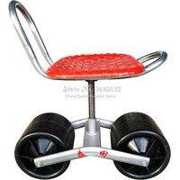 Herramienta de carretilla de jardín de hierro firme, cojín cómodo de esponja de PU para asiento, silla de trabajo móvil con ruedas, suministros de jardín